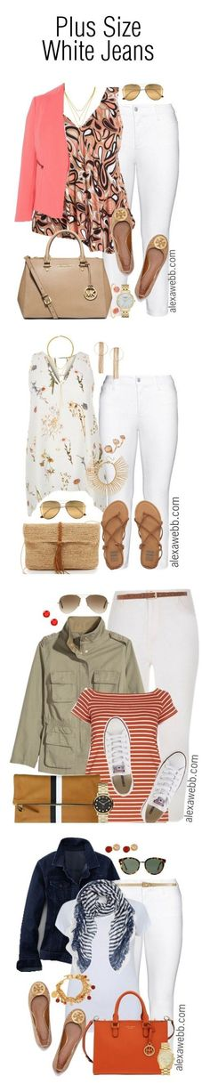 Plus Size Outfit Ideas - White Jeans {4 Ways