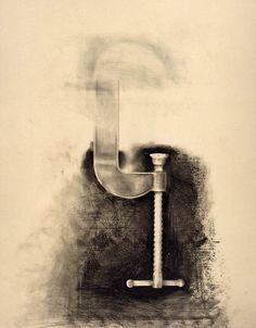 Jim Dine - Untitled (C Clamp), 1973 - graphite, charcoal, crayon on paper