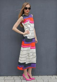 Vintage 1970's Multi Colour Patterned printed Maxi Dress