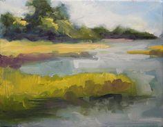 Original oil painting print Bradley Creek marsh by cloverandrubies, $28.00