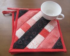 Quilted potholder - fabric hot pad - mug rug - set of two