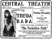 Newspaper ad for one of Theda Bara's many lost films The Forbidden Path (1918).