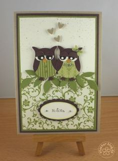 Wedding Card - I like the idea of using a vine to hide the edge of a patterned paper Wedding Anniversary Cards, Wedding Cards, Owl Wedding, Punch Art, Cricut Cards, Stampin Up Cards, Owl Punch Cards, Owl Card, Animal Cards