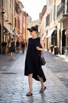 Perfect - Black Flowy Dress with Adidas