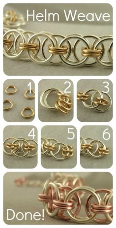 Chainmaille Helm Instructions 1. Close four small jump rings  2. Add two larger rings  3. Separate small rings & add one large ring  4. Add second large ring  5. Link one large ring to one side & add two small rings  6. Add one more large ring on other side.  Repeat steps 5-6 to finished length.  #handmade #jewelry