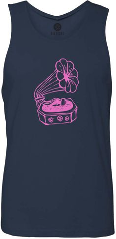 Hand Drawn Gramophone (Pink) Tank-Top T-Shirt