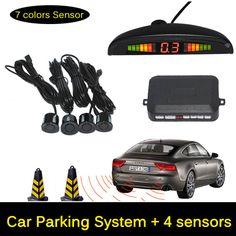 12 V Del Estacionamiento Del Coche LED Sensor Monitor de Auto Reverse Radar Detector de Backup sistema + LED Display + 4 Sensores + Negro + Plata