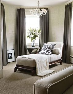 I like the sitting area idea. It's a good place to put a chandelier in a master, so that you could still have a ceiling fan over the bed. And I love the serene color scheme | fabuloushomeblog.comfabuloushomeblog.com