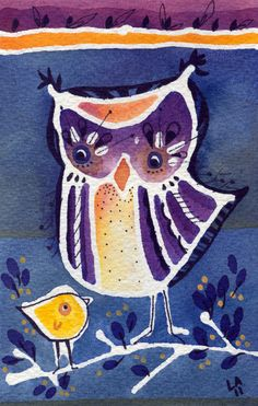 ON SALE The Quiet One - Original Owl Watercolor Painting 4x6. $20.00, via Etsy.  Example of using a resist
