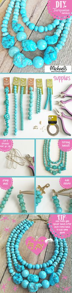 Create a necklace with timeless style - DIY Turquoise Statement Necklace