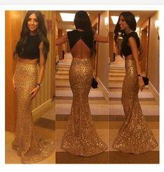 Vestido De Festa 2015 New Fashion 2 Piece Set Women Elegant Sequin Party Dress+Crop Top Mermaid Floor Length Evening Prom Dress