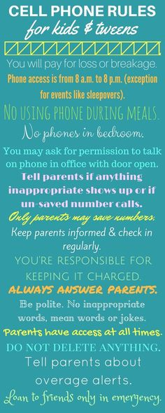 Safe cell phone rules for kids, tweens, and teens.