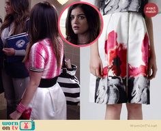 Aria's white and pink floral skirt on Pretty Little Liars.  Outfit Details: http://wornontv.net/35070/ #PLL