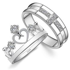 His & Hers Matching Couple Sterling Silver Engagement Rings Bands Set ($88.99)