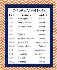 2013 Auburn University Football Schedule PDF   girl meets gameday