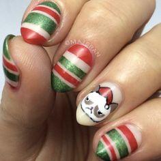 xmas nail art - red & green