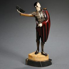 "After Roland Paris (Austrian, 1894-1915)   Art Deco Enameled Metal and Ivory Figure of a Matador, cast with his red cloak draped across one arm and his other hand raised holding his hat aloft, raised on a stepped marble base, incised ""Roland Paris,"" bronze unsigned, bronze."