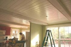 The Twice Remembered Cottage: Transformation of a Cottage Kitchen Part From Popcorn to Plank Ceiling Cottage, Country Cottage Living Room, Plank Ceiling, Urban Farmhouse Style, Ceiling Treatments, Ship Lap Walls, Ceiling Design, Cottage Kitchen, Diy Ceiling