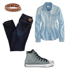 """""""Idk"""" by nafisashb ❤ liked on Polyvore featuring American Eagle Outfitters and Converse"""