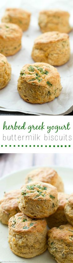Herbed Greek Yogurt Buttermilk Biscuits - Fresh herbs and tangy greek yogurt are a match made in heaven in these ultra-buttery and flaky buttermilk biscuits! They're heavenly warm from the oven with fresh butter. Buttermilk Biscuits, Mayonaise Biscuits, Oatmeal Biscuits, Easy Biscuits, Cinnamon Biscuits, Fluffy Biscuits, Homemade Biscuits, Pastry Recipes, Baking Recipes