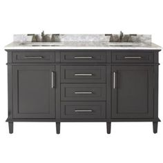 Home Decorators Collection Sonoma 60 in. Double Vanity in Dark Charcoal with Marble Vanity Top in Grey/White-8105300270 - The Home Depot