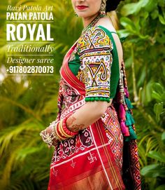 Those sleeves😍😍😍 Royal Traditionally Designer Patola Saree Blouse Designs Silk, Choli Designs, Saree Blouse Patterns, Designer Blouse Patterns, Designer Dresses, Choli Dress, Indian Wedding Wear, Indian Outfits, Indian Attire
