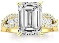3 Ctw Yellow Gold Designer Twisting Eternity Channel Set Four Prong Emerald Cut GIA Certified Diamond Engagement Ring Mens Emerald Rings, Emerald Cut Diamond Engagement Ring, Emerald Cut Diamonds, Engagement Ring Cuts, Diamond Cuts, Mens Pinky Ring, Gia Certified Diamonds, Channel, Yellow
