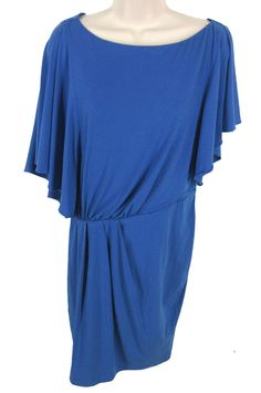 Vince Camuto Blue Poly Stretch Drape Sleeve Ruched Side Zip Knee Length Dress #VinceCamuto #Blouson #SummerBeach