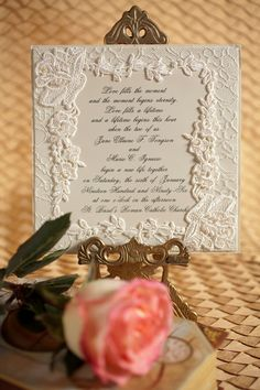 #DIY #Lace wedding invitation with pearls.   Join us in a workshop to demonstrate how to make your own #wedding invitation http://www.uniquelyyoursweddinginvitation.com/creativity-workshops/