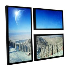Between Worlds V1 by Dragos Dumitrascu 3 Piece Floater Framed Wall Art on Canvas Set