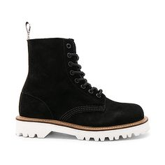 Dr. Martens Pascal II 8 Eye Boot ($140) ❤ liked on Polyvore featuring shoes, boots, booties, laced boots, dr martens footwear, lace up shoes, laced shoes and front lace up boots