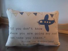 Airplane pillow handmade baby shower gift by SweetMeadowDesigns