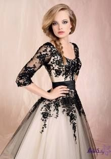 Almost pale gold to nude gown with black lace and a sleeve! This bold and understated all at the same time