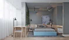 Contemporary Home Design Exposed Brick Pads and Muted Pastel Tone Color Bring Out Luxurious Feel - RooHome | Designs & Plans