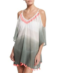 Cold-Shoulder+Dip-Dye+Tunic+Coverup,+Ziz+by+ONDADEMAR+at+Neiman+Marcus.