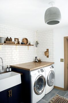Tiny Laundry Room Ideas - Space Saving DIY Creative Ideas for Small Laundry Rooms Small laundry room ideas Laundry room decor Laundry room makeover Farmhouse laundry room Laundry room cabinets Laundry room storage Box Rack Home Laundry Room Cabinets, Laundry Room Organization, Laundry Room Design, Laundry In Bathroom, Organization Ideas, Navy Cabinets, Storage Ideas, Small Bathroom, Bathroom Ideas