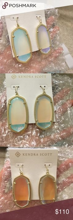 Kendra Scott Dichroic Glass Danielles NWT and box Kendra Scott earrings. They're super pretty to look at and reflect at least 3 colors. 😍😍😍 I can do Posh or 🅿️🅿️ for $100 fees and shipping included. Kendra Scott Jewelry Earrings