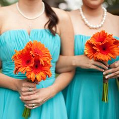 This wedding features Pantone's 2012 Color of the Year, Tangerine Tango and is perfectly balanced with one of this summer colors Cockatoo.