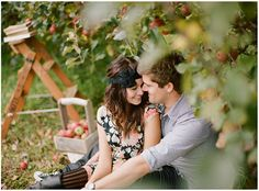 Chasing Rainbows Kissing Frogs: Apple Orchard Engagement Session