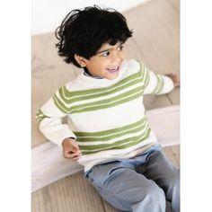 Drenge sweater med striber - Gratis PDF opskrift