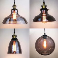 Vintage Industrial Grey Glass Shade Brass Pendant Lamp Ceiling Light Loft Bar  | eBay