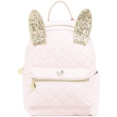 Betsey Johnson Disco Bunny Backpack ($60) ❤ liked on Polyvore featuring bags, backpacks, blush, bunny backpack, sequin bag, pink backpack, pocket bag and rucksack bag