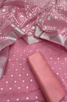 Pink Banarasi Chanderi Silk Three Piece Unstiched Suit Set To order Whatsapp us on Churidar Designs, Kurta Designs Women, Silk Suit, Cotton Suit, Embroidery Suits Design, Indian Embroidery Designs, Salwar Material Online, Chanderi Suits, Womens Dress Suits