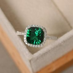 This natural emerald engagement ring set is handmade in expert detail. This yellow gold set features a luxurious emerald engagement ring with floral accents along either side of the band. Bridal Rings, Diamond Wedding Rings, Diamond Engagement Rings, Diamond Rings, Solitaire Diamond, Halo Engagement, Solitaire Rings, Diamond Necklaces, Gold Earrings