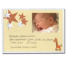 yellow baby card baby announcement idea