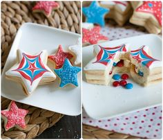 So clever. M&Ms Inside-Patriotic Star Cookies | @bakeat350  #4thofjuly #patriotic