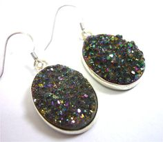 Titanium Quartz Rainbow Druzy Earrings n.4 - 925 silver $36