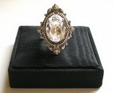 Swarovski Crystal Victorian  Silver Ring - Bridal Ring - Vintage style Wedding Jewelry on Etsy, $63.55