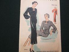30s 40s Vtg Vogue Frock Dress Pattern 6843 Bust 34 Sz16