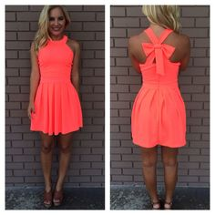 Neon Coral Cross Bow Back Dress from daintyhooligan.com on Wanelo